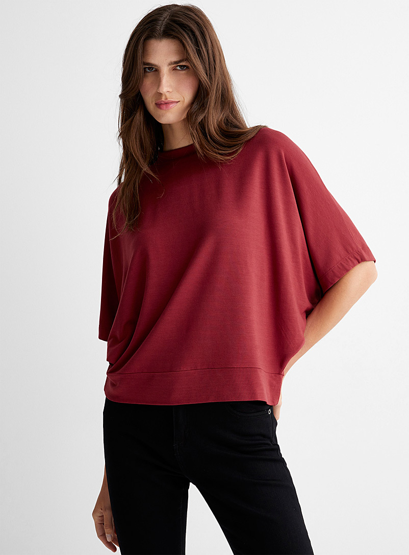 Contemporaine Ruby Red French terry poncho T-shirt for women