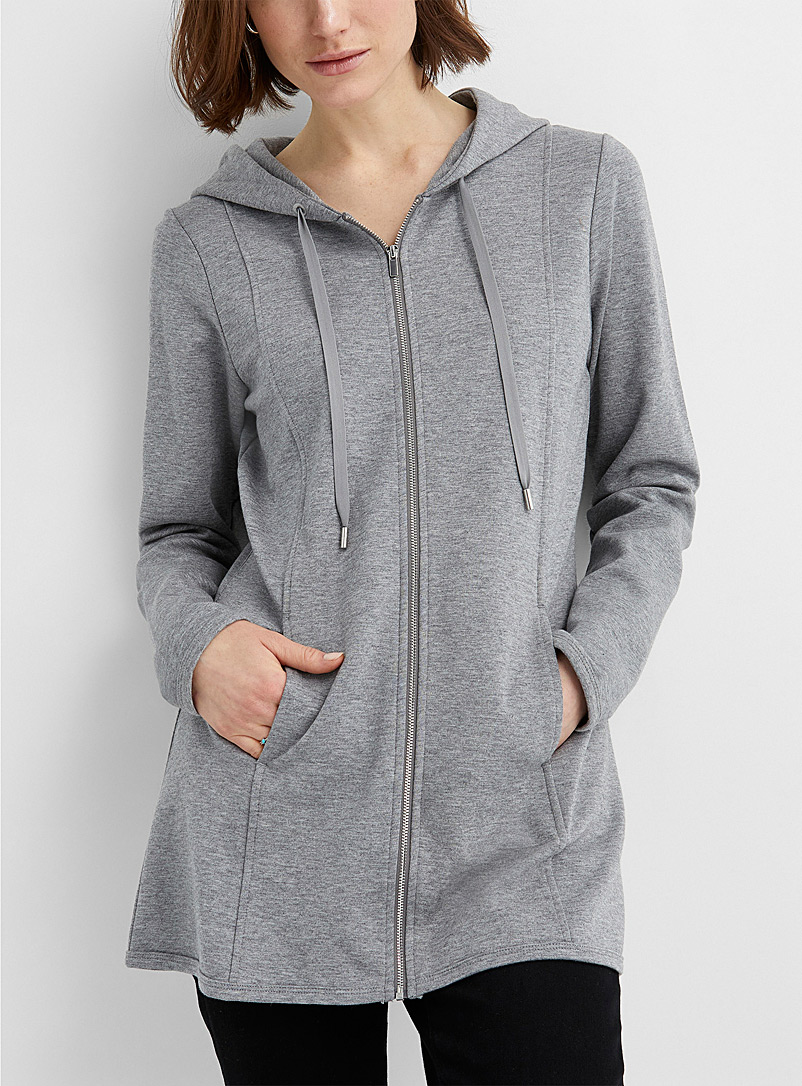 Contemporaine: Le long sweat zip à capuchon Gris pour femme