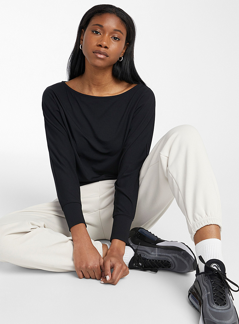 Dolman-sleeve cropped T-shirt