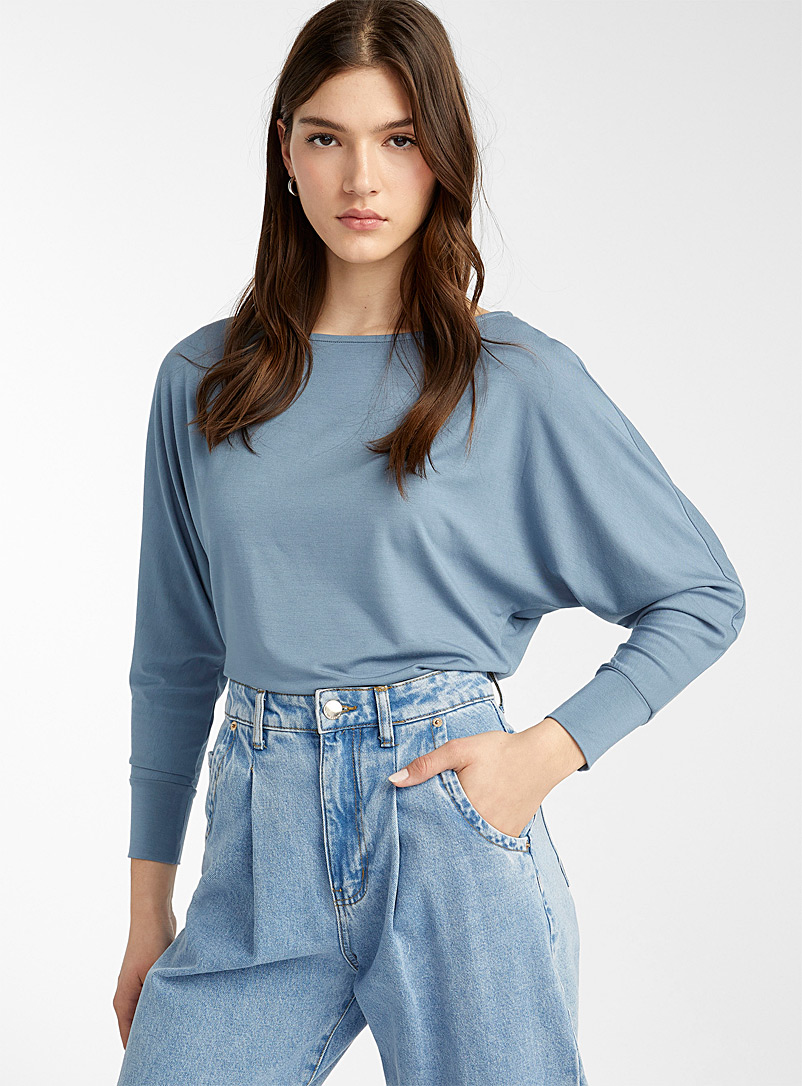 Twik Slate Blue Dolman-sleeve cropped T-shirt for women
