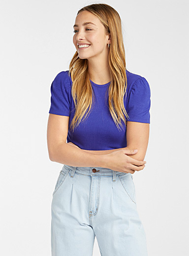 Puff-sleeve ribbed T-shirt