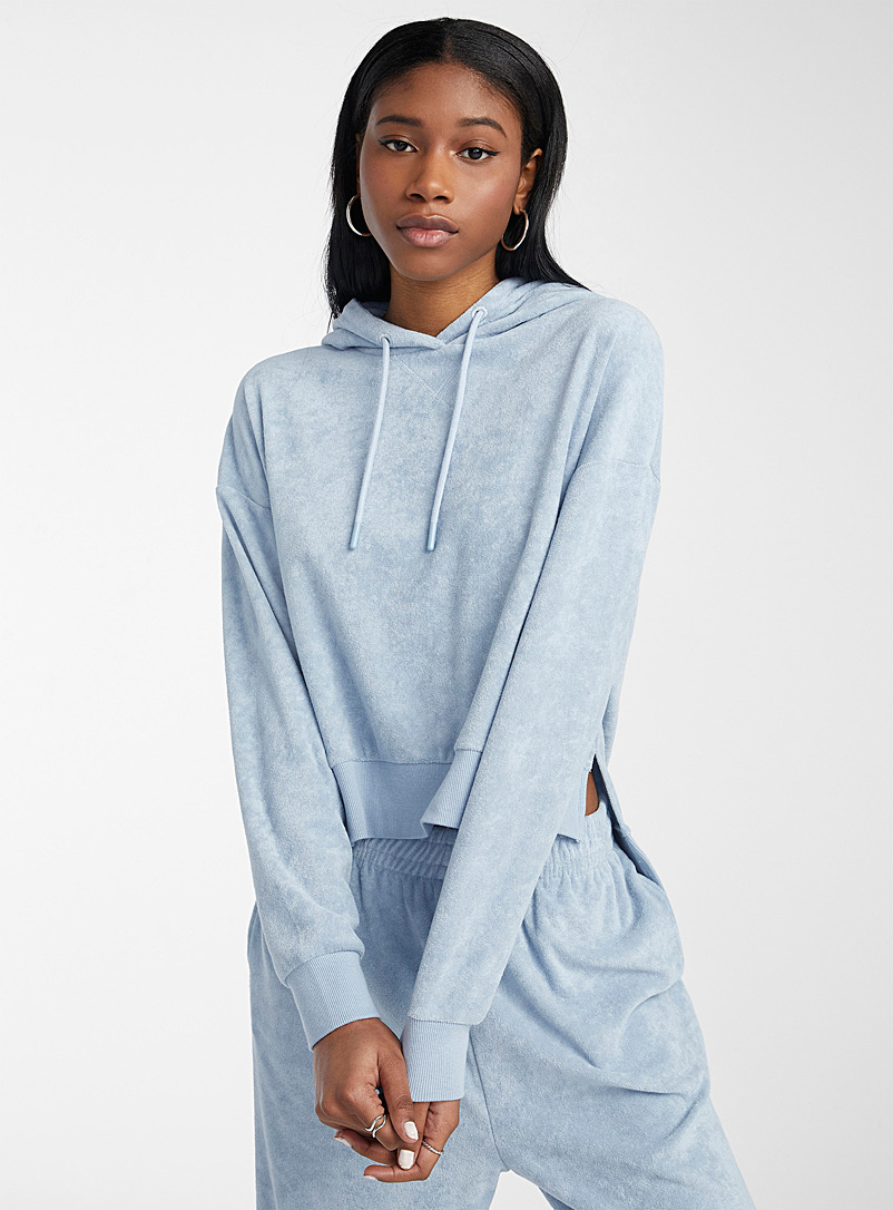 Twik Slate Blue Terry hoodie for women
