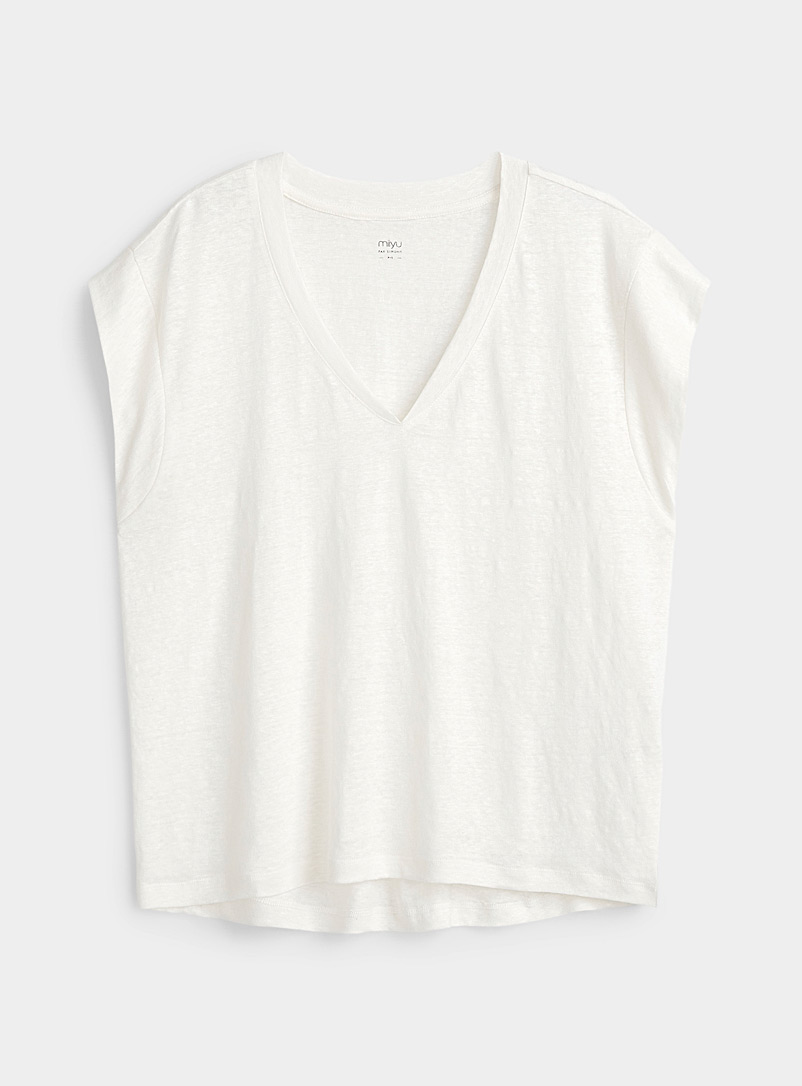 Miiyu Ivory White Pure linen lounge tee for women