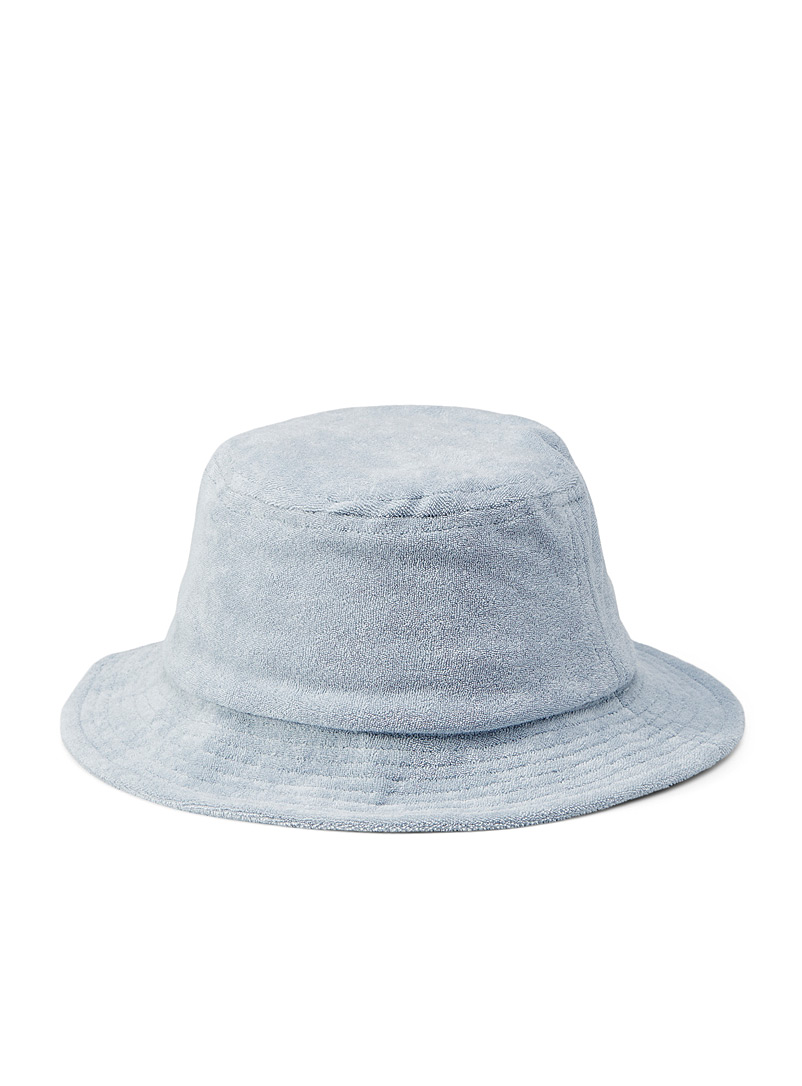 Simons Baby Blue Solid terry bucket hat for women