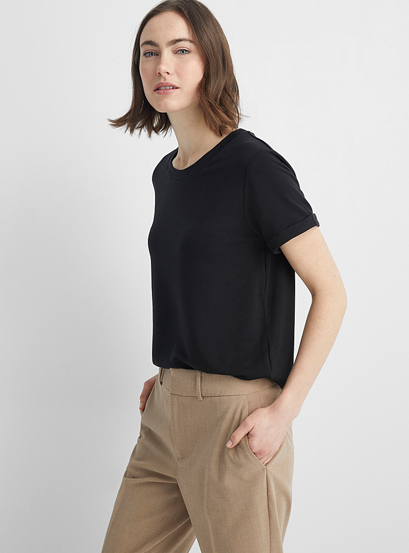 Contemporaine Black Cuff-sleeve French terry tee for women