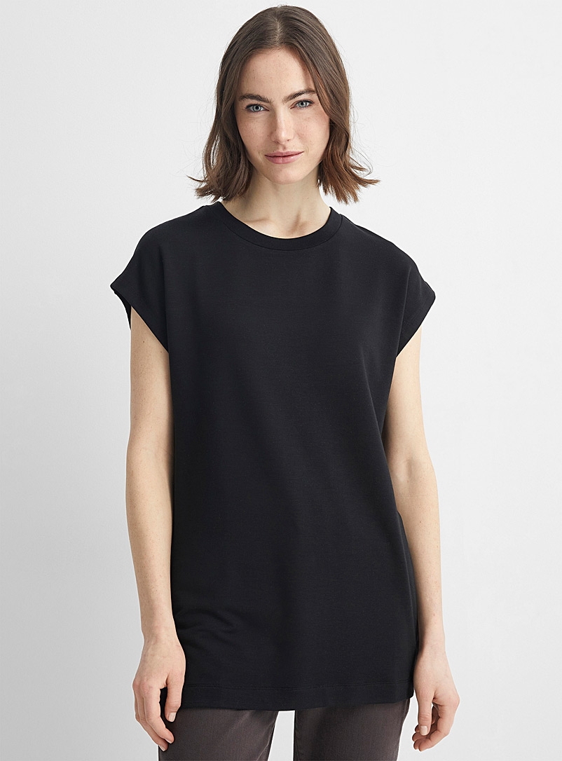 Contemporaine Black Cap-sleeve French terry tunic for women
