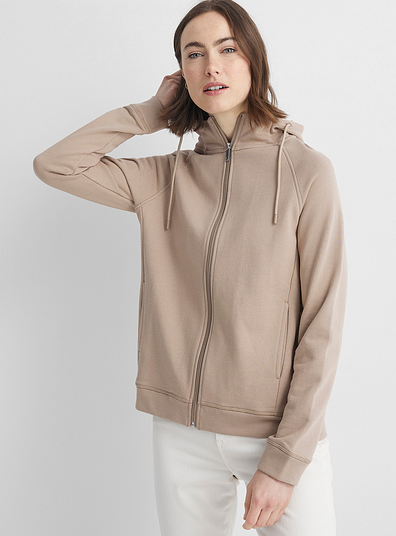 Contemporaine Light Brown French terry zip-up hoodie for women
