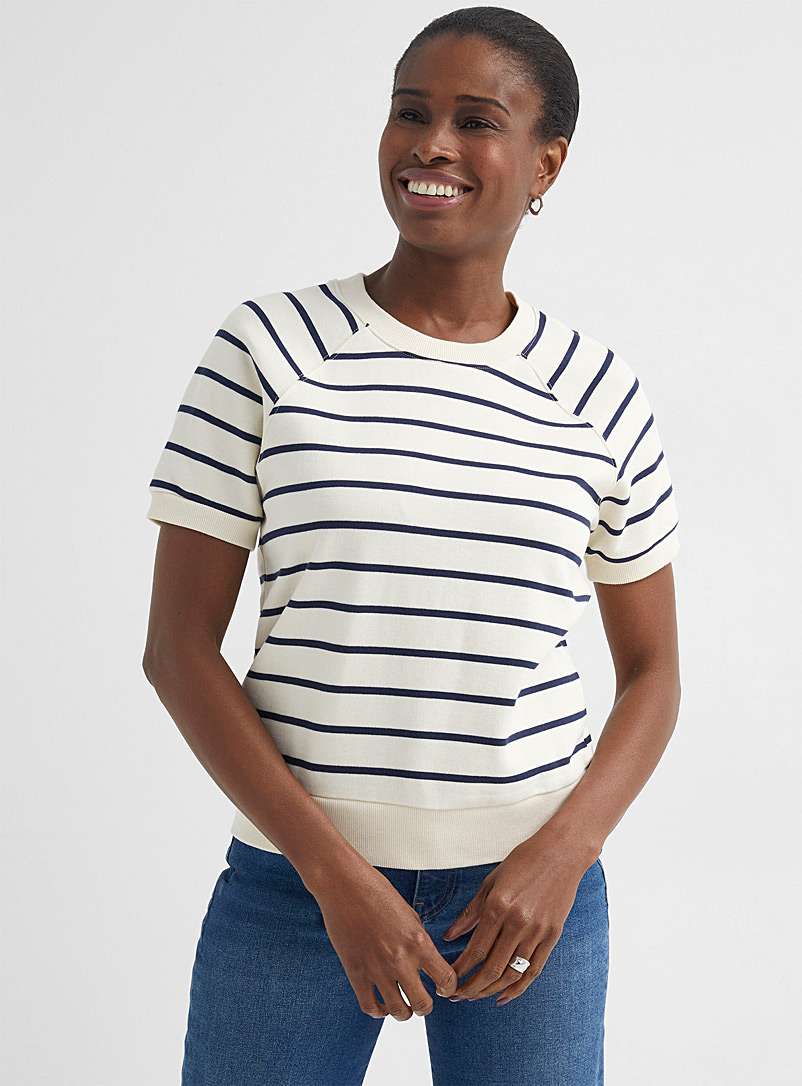 Contemporaine Patterned White French terry striped sweatshirt for women
