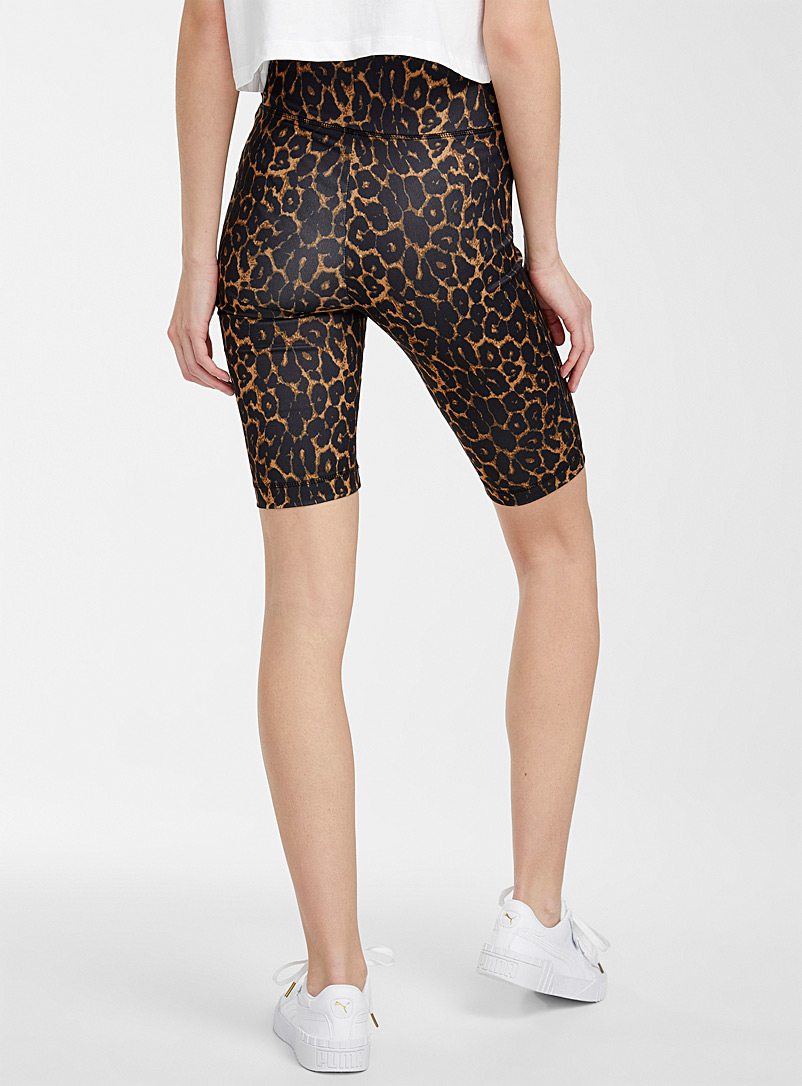 Icône Patterned Brown Leopard biker short for women