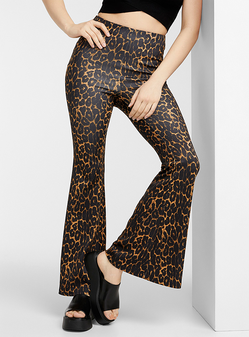 Icône Patterned Brown Leopard-print flared pant for women