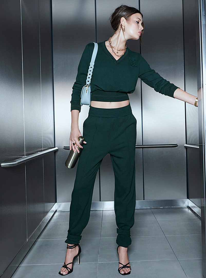 Icône Mossy Green Ankle strap joggers for women