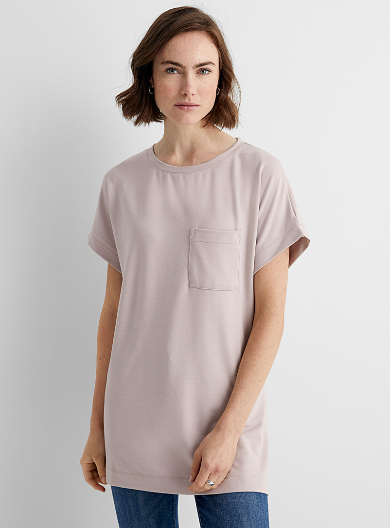 Contemporaine Dusky Pink French terry pocket tunic for women