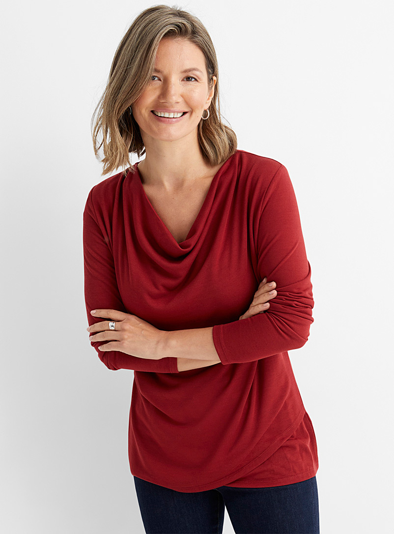 Contemporaine Ruby Red Crossover draped-neck tee for women