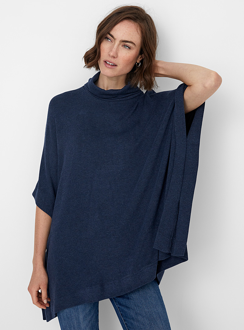 Contemporaine Grey Flowy brushed turtleneck poncho for women