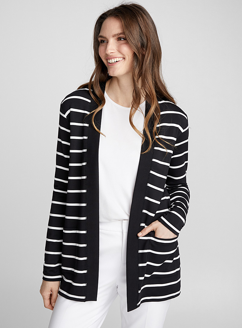 Striped pocket open cardigan - Long Sleeves - Black
