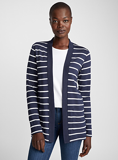 Striped pocket open cardigan