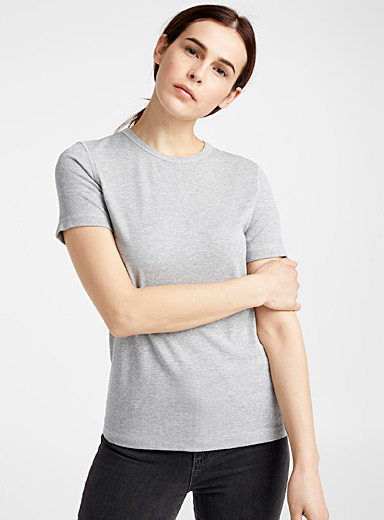 Ribbed crew-neck tee