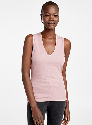 Ribbed V-neck tank top