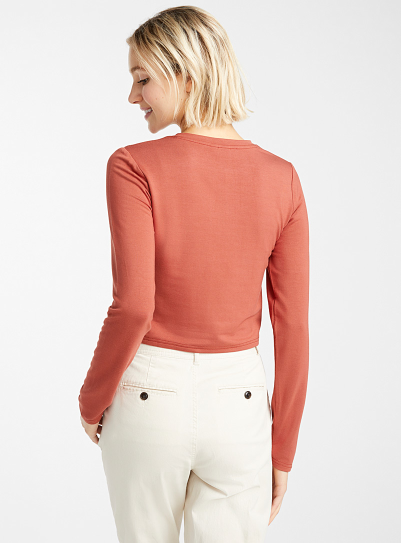 Cropped rayon tee - Long Sleeves - Ruby Red