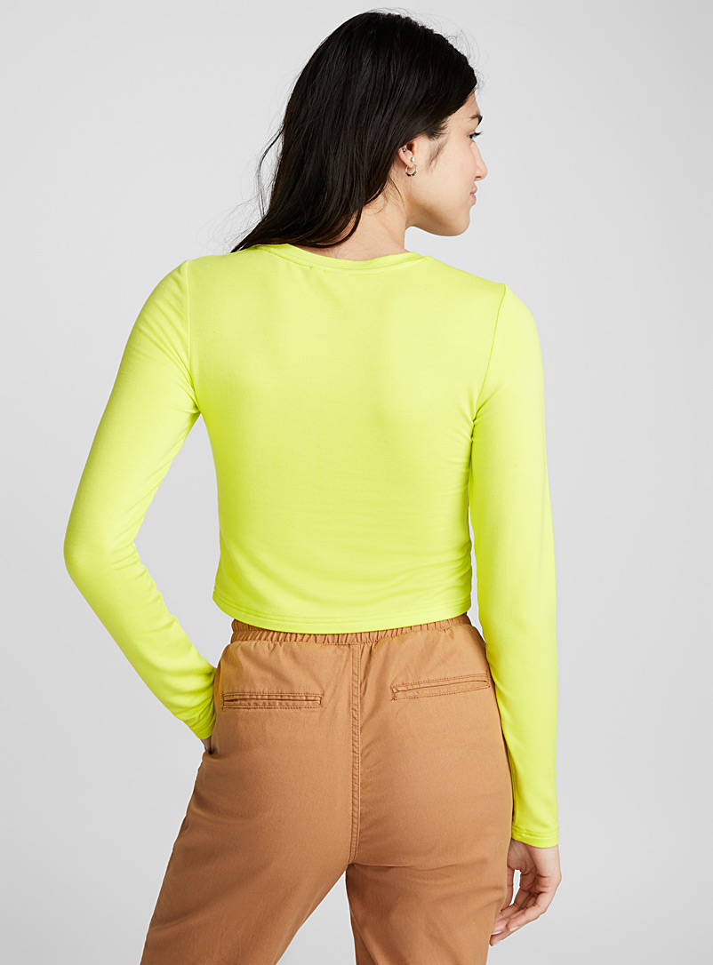 Cropped rayon tee - Long Sleeves - Golden Yellow