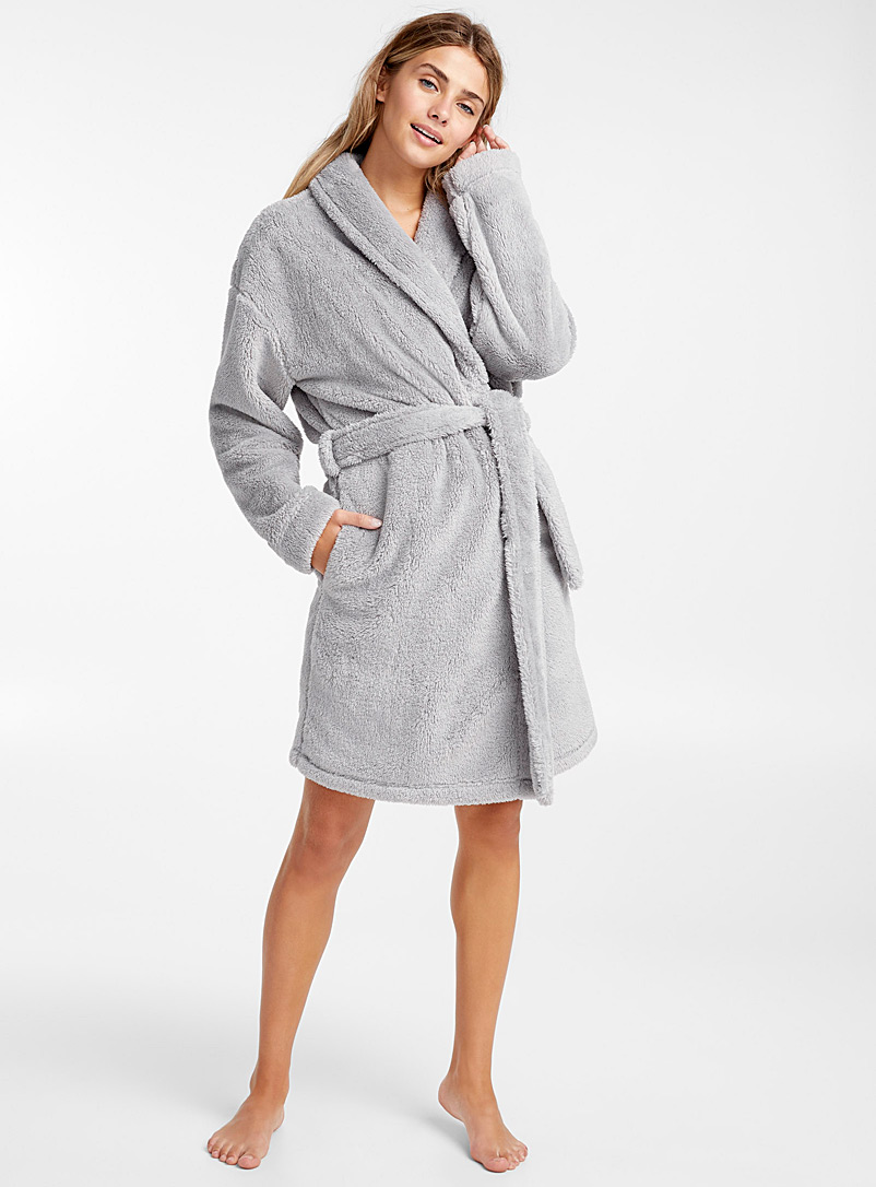 Miiyu x Twik Grey Soft plush robe for women