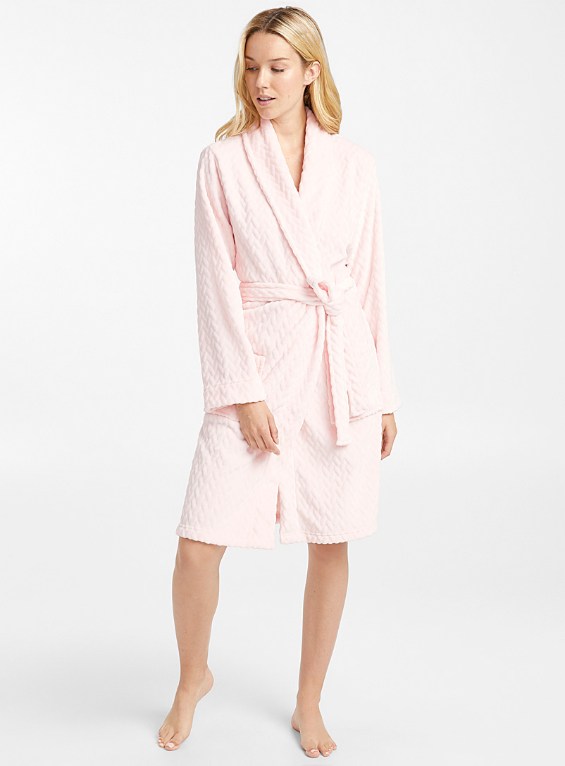 Chevron plush robe - Sleepwear & Leisurewear - Pink