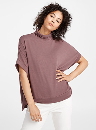 Boxy jersey knit turtleneck
