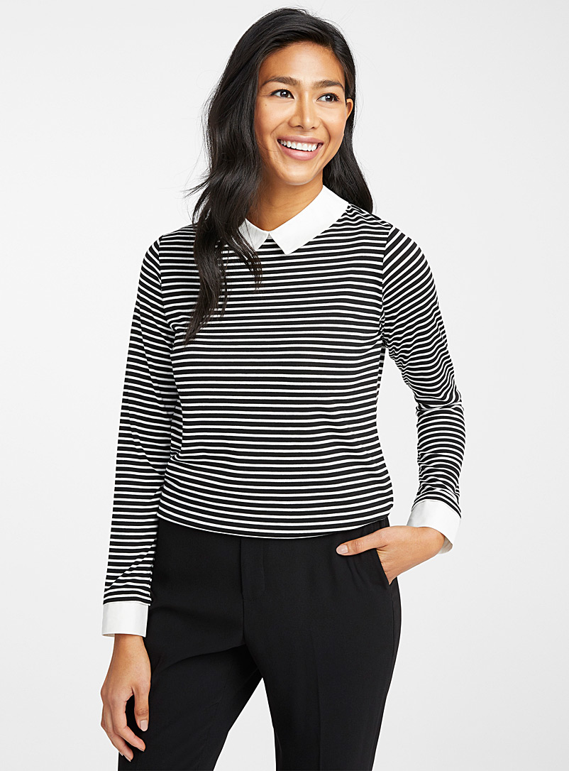 Le pull bordures chemise accent - Manches longues - Oxford
