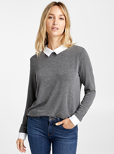 Le pull bordures chemise accent