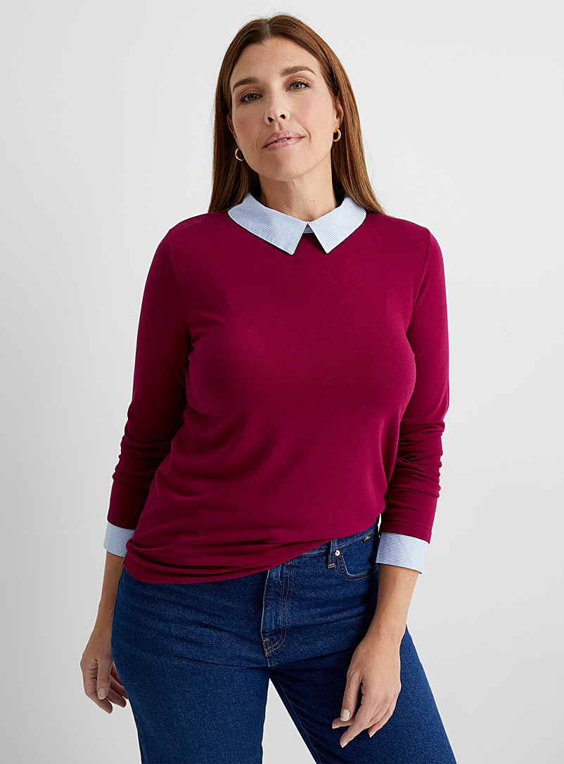 Contemporaine Cherry Red Shirt-detail fooler sweater for women