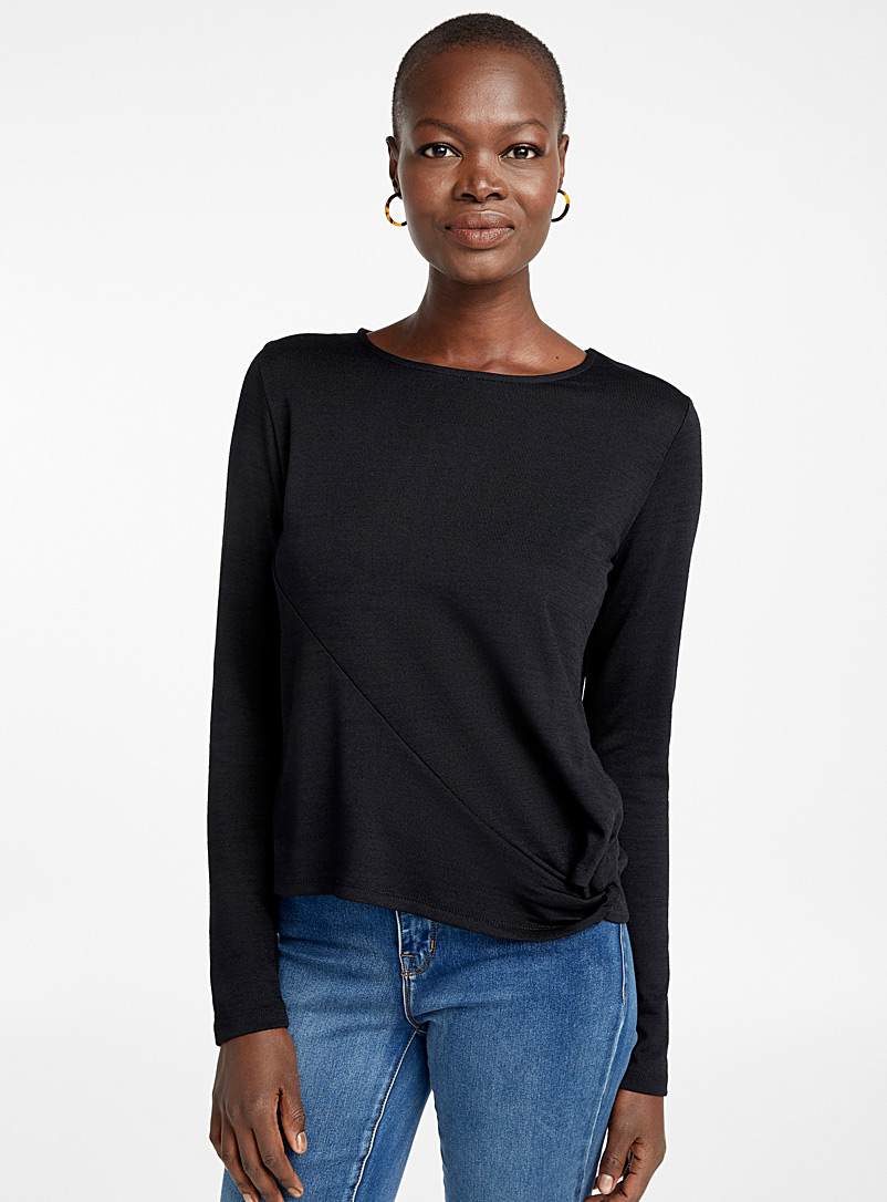 Jersey knit knotted waist tee - Long Sleeves - Black