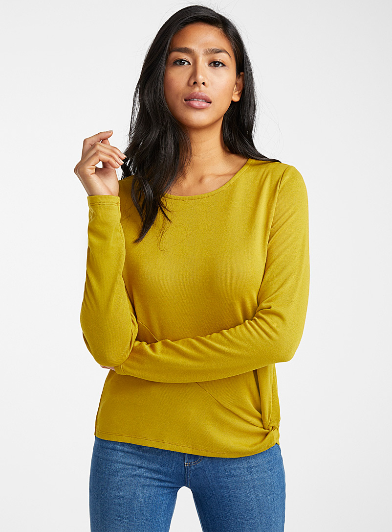 Jersey knit knotted waist tee - Long Sleeves - Golden Yellow