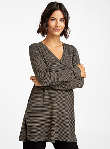 Contemporaine Black Striped soft modal tunic for women