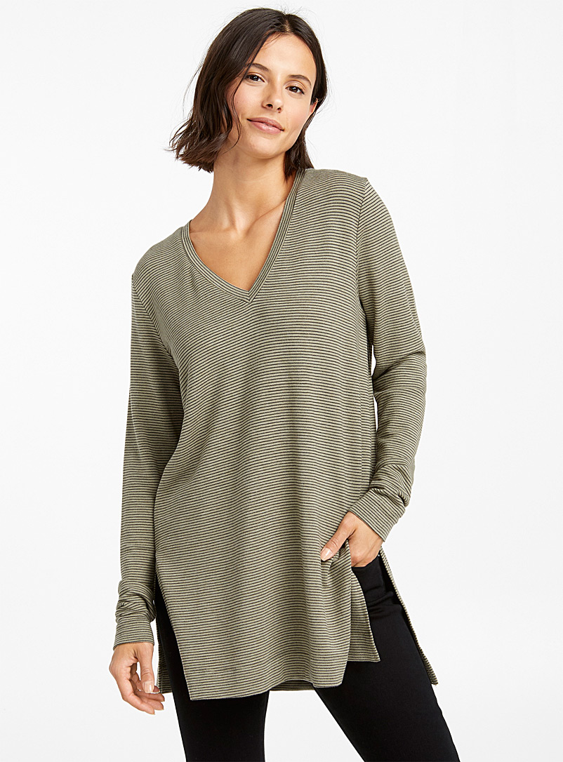 Striped soft modal tunic - Long Sleeves - Green