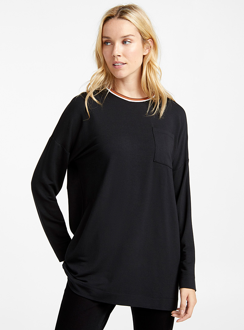 Modal sporty neck tunic - Long Sleeves - Black