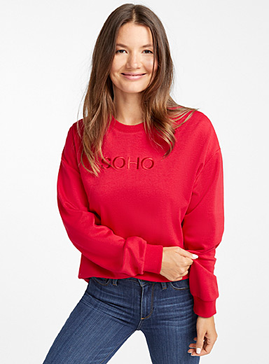 Message embroidery sweatshirt