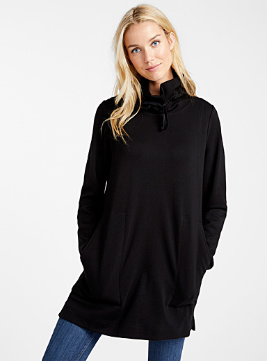 High-neck sweatshirt tunic