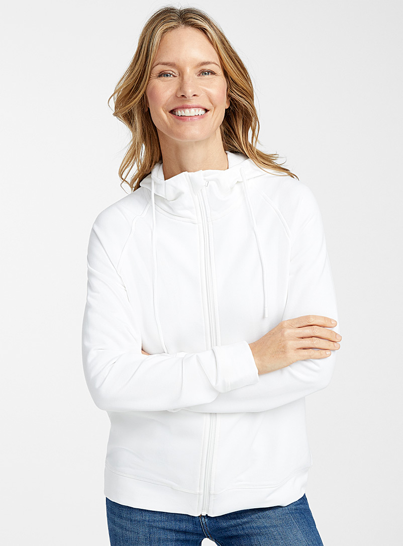 Contemporaine White Plush zipped hoodie for women