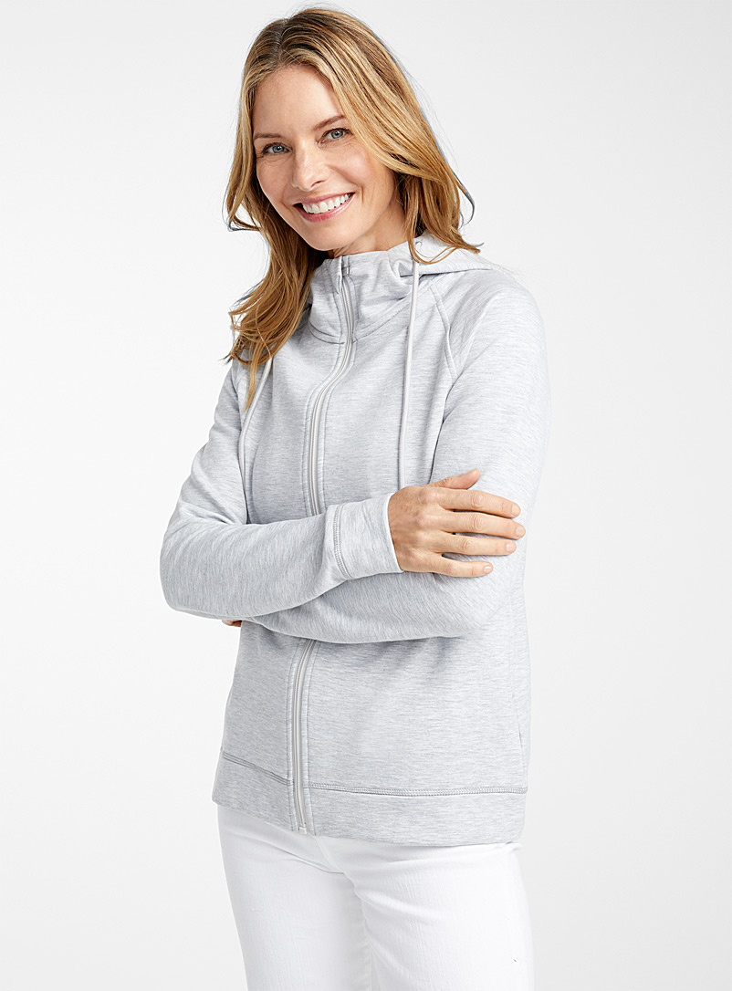 Contemporaine Grey Plush zipped hoodie for women
