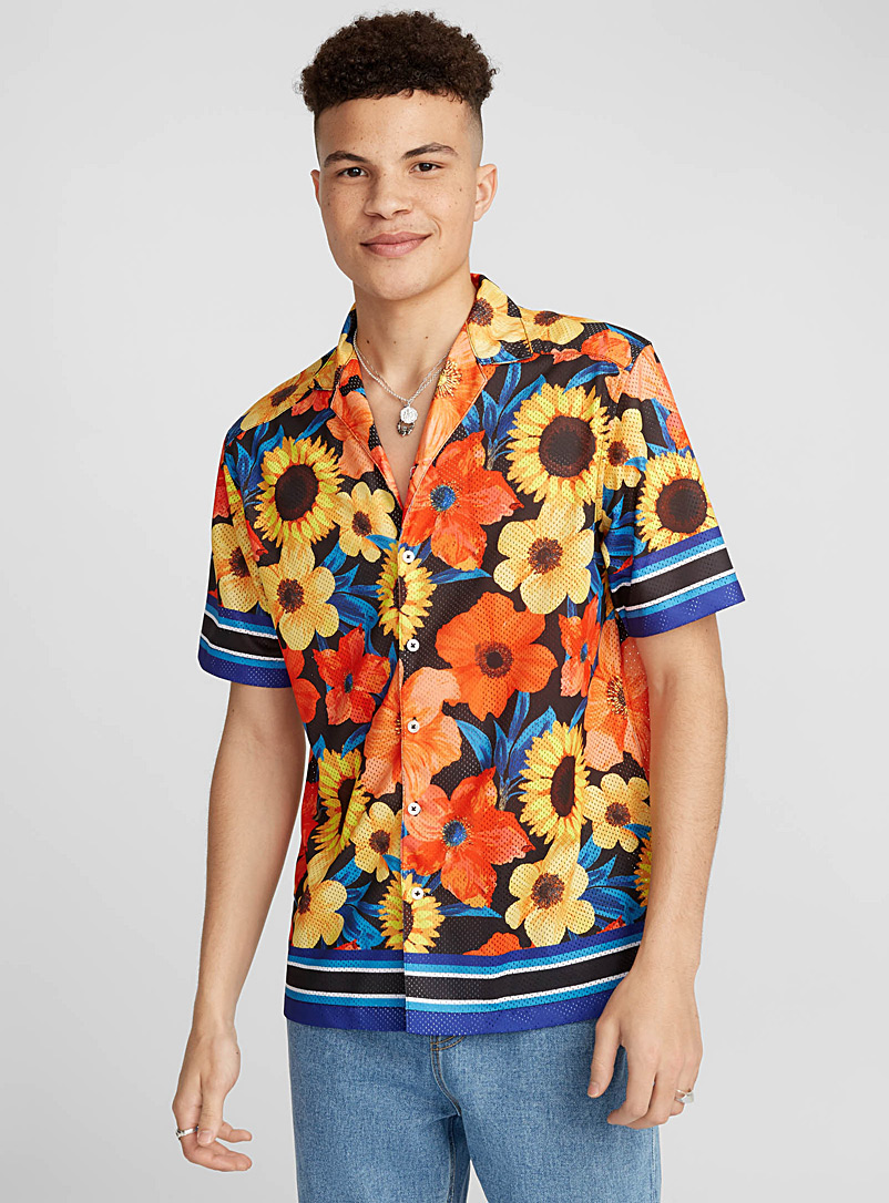 Mega pattern mesh camp shirt - Short sleeves - Patterned Blue