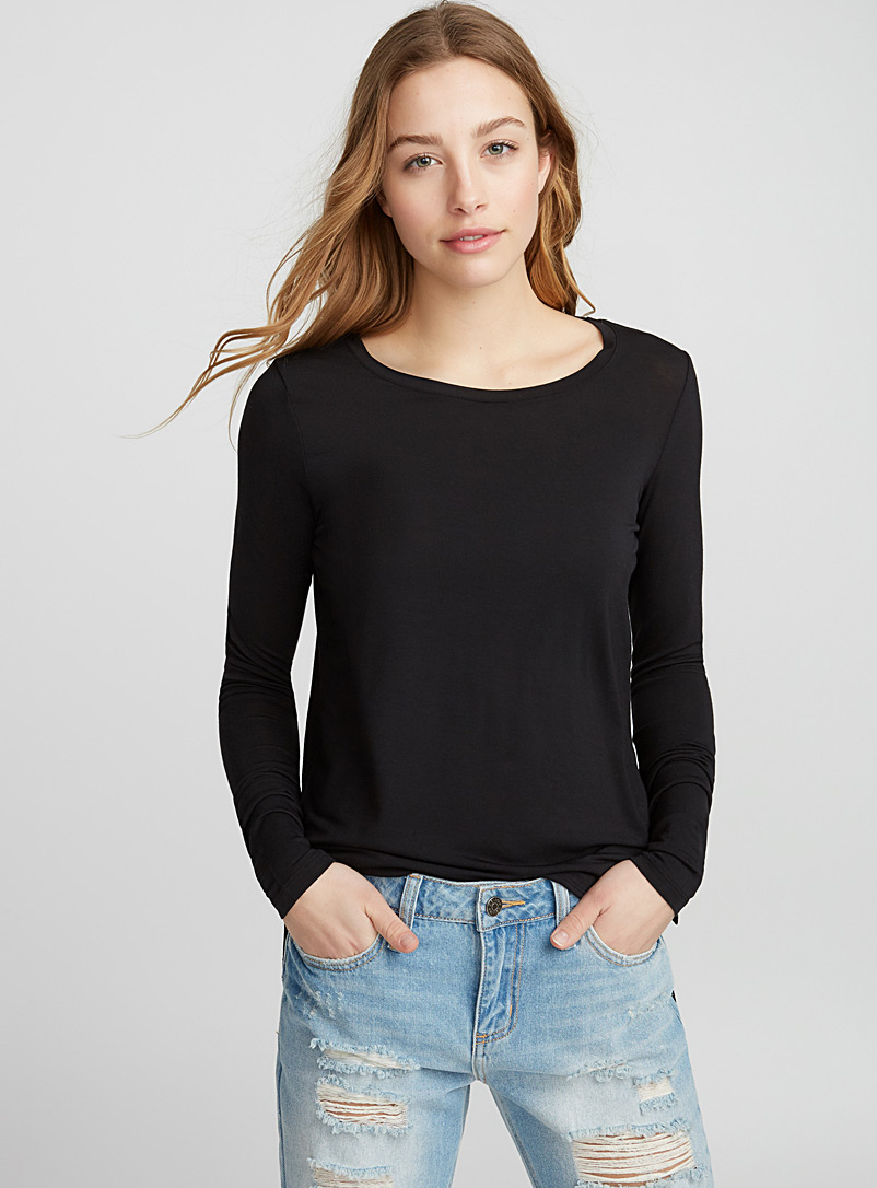 Micro-modal crew-neck tee - Long Sleeves - Black