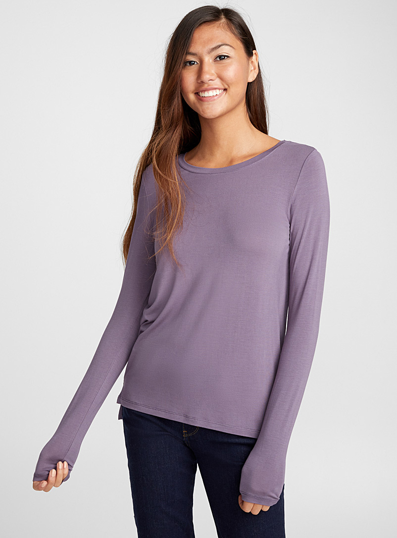 Micro-modal crew-neck tee - Long Sleeves - Purple