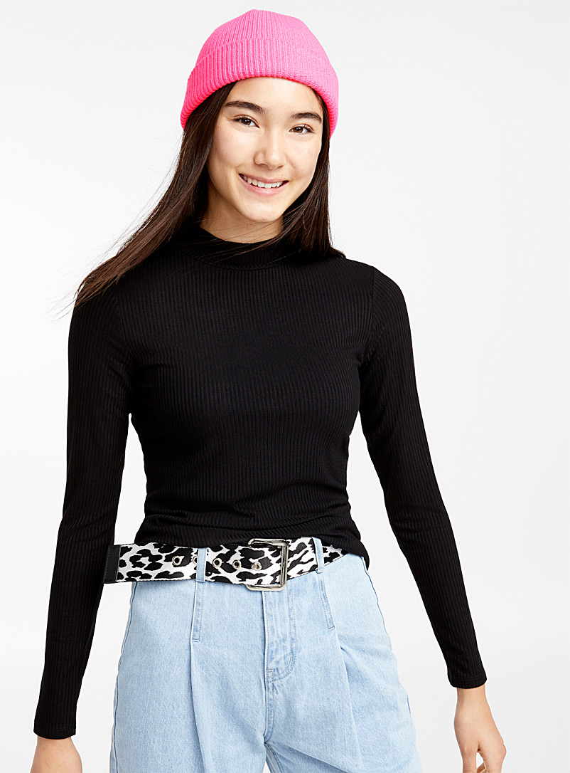 Ribbed mock-neck sweater - Long Sleeves - Oxford