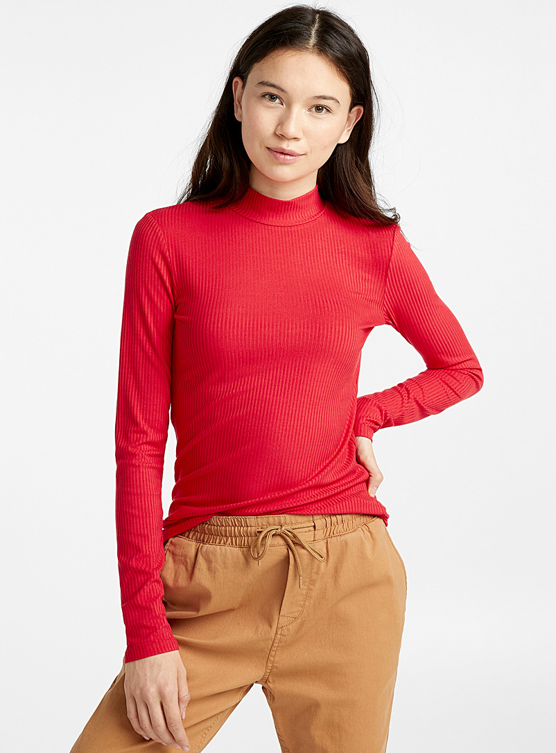 Ribbed mock-neck sweater - Long Sleeves - Patterned Red