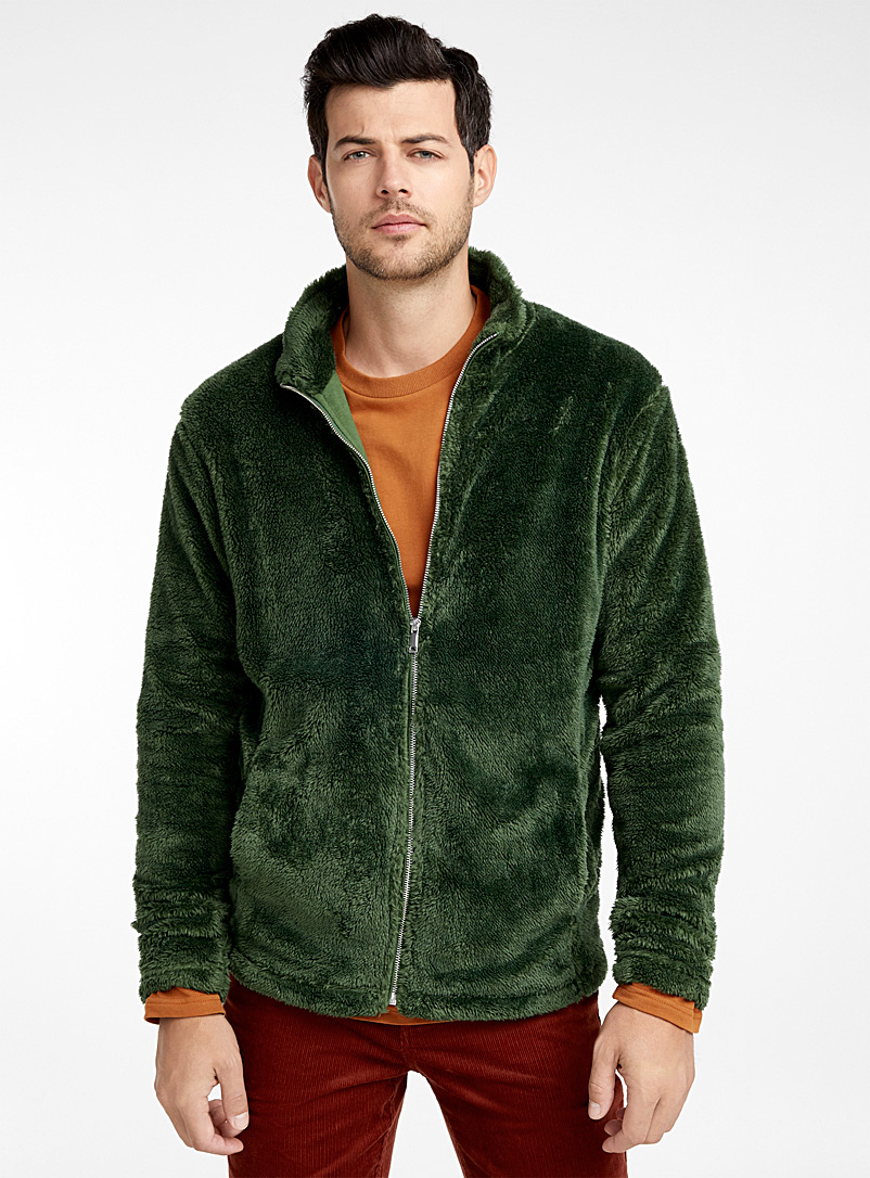 Le 31 Mossy Green Plush cardigan for men