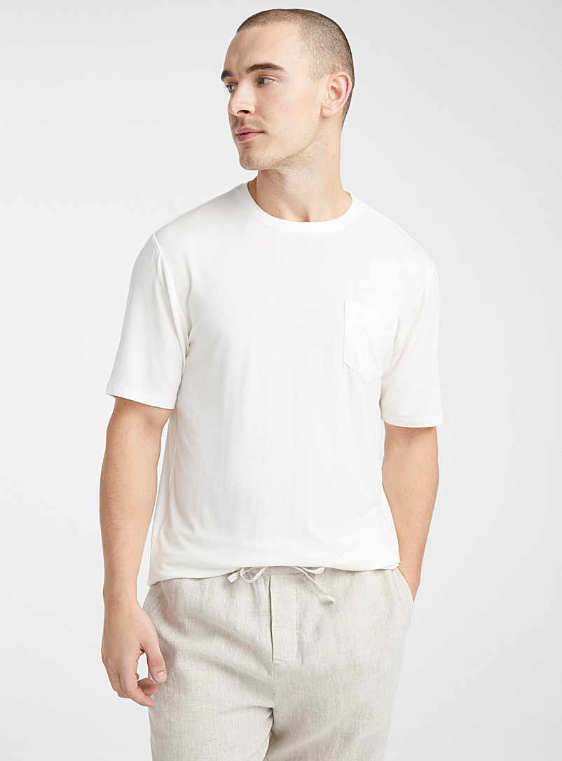 Le 31 White Essential modal lounge T-shirt for men
