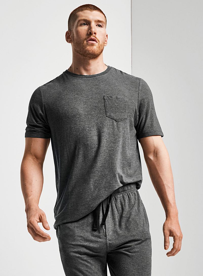 Le 31 Charcoal Essential modal lounge T-shirt for men
