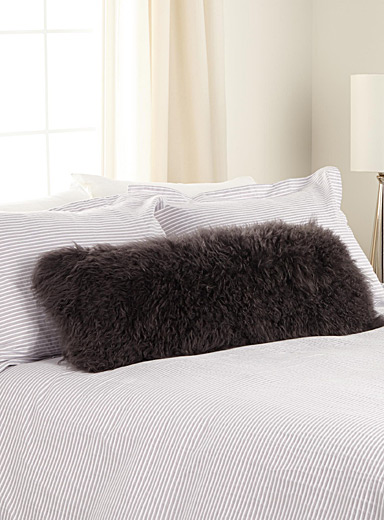 Long Mongolian fur cushion  35 x 91 cm