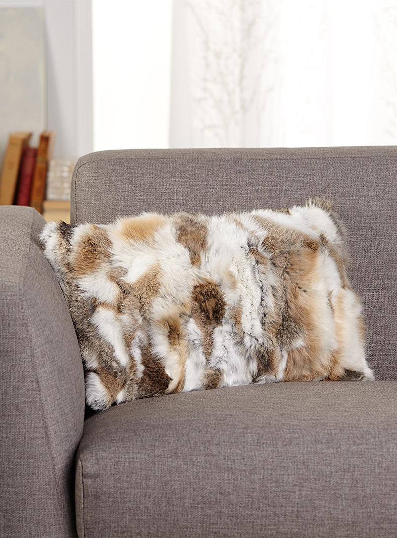Simons Maison Cream Beige Rectangular rabbit fur cushion  30 x 50 cm