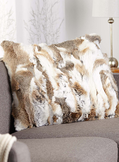 Square rabbit fur cushion  60 x 60 cm